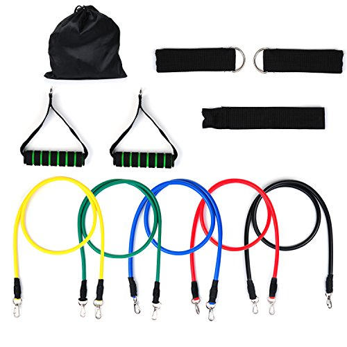 Resistance Bands, Vitalismo Exercise Bands Rubber Fitness Workout Bands with Door Anchor Ankle Strap Carrying Case for Home Gyms Physical Therapy (5 Colors) (Up24 Warranty compare prices)
