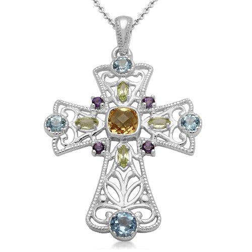 Sterling Silver Multi Gemstone Cross Pendant Necklace