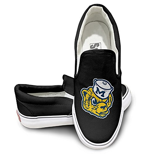 OOONG Michigan Wolverines Bear Casual Slip On Canvas Shoes Flats 37 Boys Canvas Carpenter Short