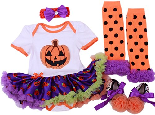 CAKYE® Baby Girl's Infant Halloween Outfits Pumpkin Tutu Dress 4PCs