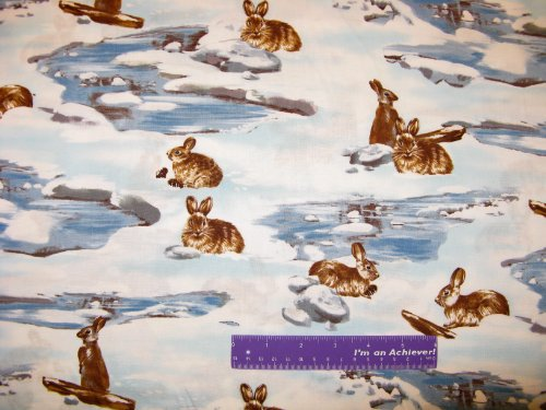 """44"""" Wide Snow Bunny Cotton Fabric By The Half Yard front-558580"""
