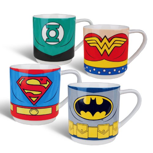 Justice League - Set di 4 tazze in ceramica con 4 motivi - Batman Superman Wonder Woman Lanterna Verde