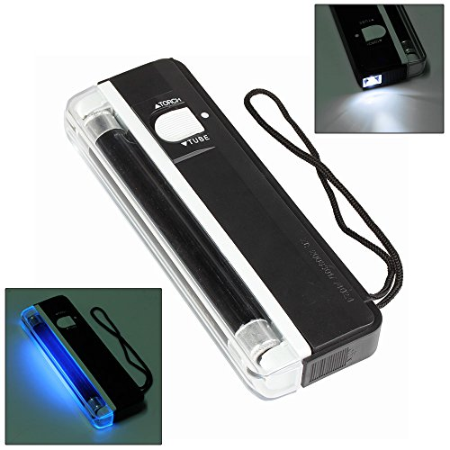 Flexzion Portable UV Counterfeit Bill Detector Currency Money Dollar Stamps Detection Tester Handheld with Led Black Light Torch Lamp and Carrying Cord
