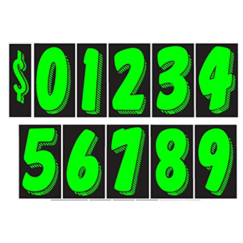 "7 1/2"" Vinyl Number Decals 13 Dozen Car Lot Windshield"