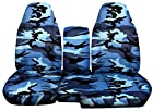 1998 to 2003 Ford Ranger/Mazda B-Series Camo Truck Seat Covers (60/40 Split Bench) and Console Cover: Blue Camo (16 Prints Available)