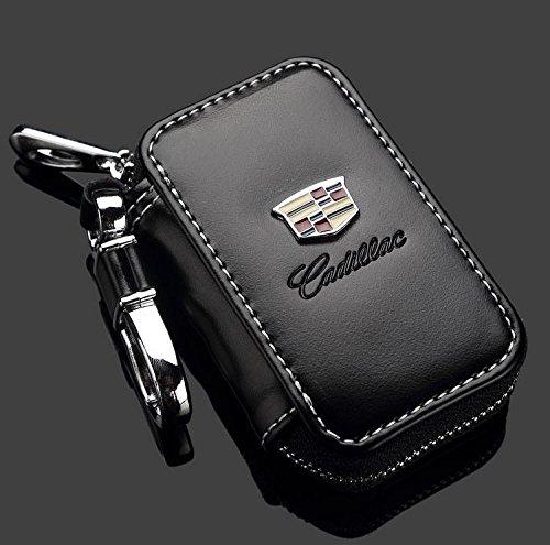 Cadillac Black Premium Leather Car Key Chain Coin Holder Zipper