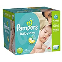 Pampers Baby Dry Diapers Economy Pack Plus, Size 1, 252 Count