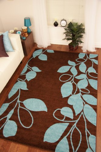 Toledo Chocolate Brown Teal Blue Modern Vine Rugs 6071 160x230cm (5'3