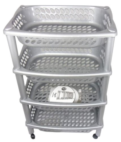 Multi Purpose High Quality Grey Plastic Fruit or Vegetable Kitchen Storage Rack Trolley 4 Tier
