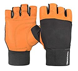 Nivia Leather Gym Gloves With Wrist Wrap, Large