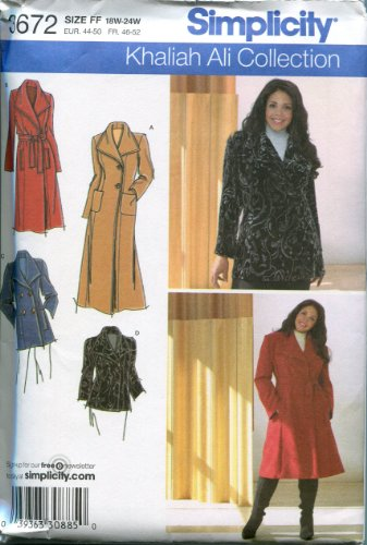 SIMPLICITY PATTERN 3672 WOMEN'S PETITE COAT OR JACKET, EACH IN TWO LENGTHS SIZE FF 18W-24W