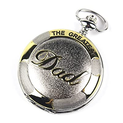 CredDeal Stainless Steel Pocket Watch Golden Dad Dangle Pocket Quartz Watch+chain Pw023 with Gift Box