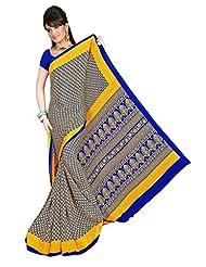 Shivam Sarees Art Silk Yellow Abstract Printed Saree