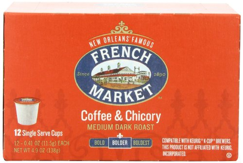 French Market Medium Dark Roast And Chicory Single Serve Cups Coffee, 12 Count (Pack Of 6) front-64098