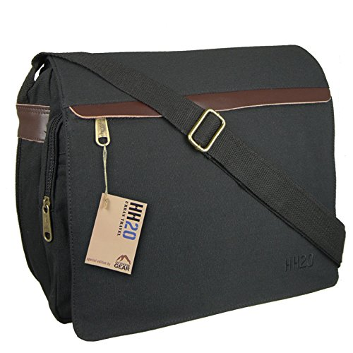 Hey Hey Twenty - Mens Canvas Messenger Bag with Real Leather Trim