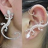 DDU(TM) 1Pcs Silver- Cool Punk Bone Clip Artificial Pearl Pierce Gecko Earring Ear Stud Decoration