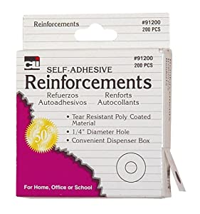 "Charles Leonard Reinforcements - Hole - Self Adhesive White Poly - 1/4"" Holes In Dispenser Box - 200/Box, 91200"