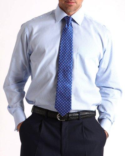 Savile Row Mens Blue Fine Stripe Classic Fit Formal Shirt Neck Size 16
