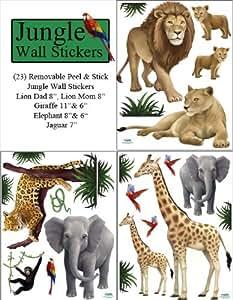 amazon com jungle animal wall decals 23 peel stick