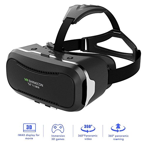 """VR Shinecon 2.0 Upgraded 3D Virtual Reality Headset, Smart Phone 3D Movies Games Video Glasses, Compatible with iPhone and Android Smartphone 4.7""""-6.0"""""""