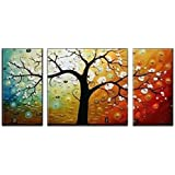 """Wieco Art 3-Piece """"Lucky Tree"""" Stretched And Framed Hand Painted Modern Canvas Wall Art Set"""