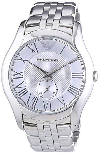 Emporio Armani  0 - Reloj de cuarzo para hombre, con correa de acero inoxidable, color plateado