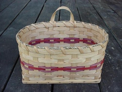 """Amish Country Collectible Large Key Basket. Measures 9"""" X 6 1/4"""" X 5"""". This Artistic and Popular Amish Handmade Basket Has Many Wonderful and Great Uses. It Is Perfect to Use As a Mail Basket or to Hang By the Telephone and Keep a Pad of Paper to Leave Notes in a Centeralized Location. Fill It with Flowers and Greenery to Enhance Your Country Home Decor, or Use It As the Key Basket That It Is Made for and Let It Hold Your Keys. Colors May Vary (Brown, Black, Blue, Red, Green, Purple, Burgundy, N"""
