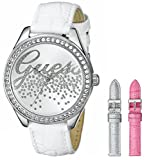 Guess U0201L2 36mm Stainless Steel Case White Leather Mineral Women's Watch