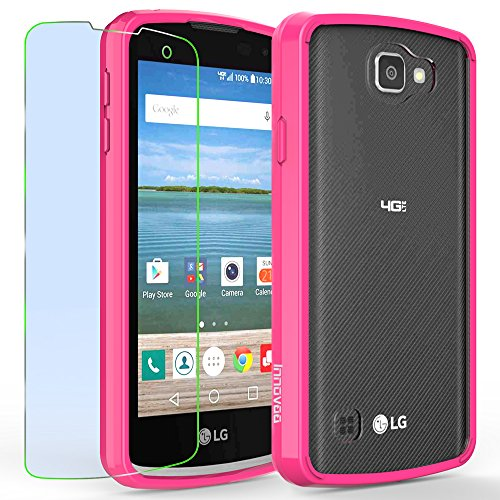LG Optimus Zone 3 / K4 / Spree Case, INNOVAA Luminous Crystal Clear Series Bumper Case W/ Free Screen Protector & Touch Screen Stylus Pen - Hot Pink