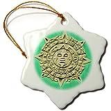 3dRose orn_86536_1 Guatemala, Antigua Mayan Calendar Adorns Facade-SA10 KWI0002-Kymri Wilt-Snowflake Ornament, Porcelain, 3-Inch