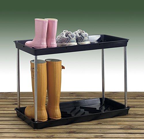 2 tier large black wellington boot storage tray rack