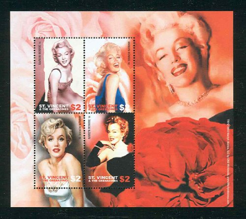 Marilyn Monroe Souvenir Sheet of 4 RARE St Vincent Stamps 3188