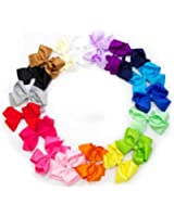 Ema Jane - Large (4.3 in Wide) Grosgrain Hair Bows Secured to Double Prong Clips,Set of 18
