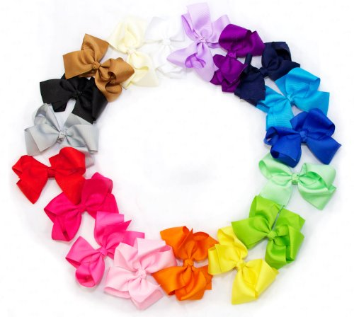 Ema Jane - Large (4.3 In Wide) Grosgrain Hair Bows Secured To Double Prong Clips,Set Of 18 front-332879