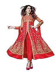 Krishna Red Golden Color Georgette Semi Stitch Dress Material With Dupatta..