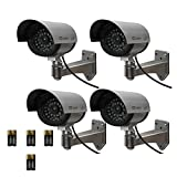 Etekcity® 4 Pack Security Outdoor Fake,Dummy Surveillance Camera with Blinking,Flashing Light(8xAA Batteries Included, Silver)