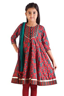 MB Girl's Indian Ethnic Kurta Tunic with Matching Churidar & Dupatta