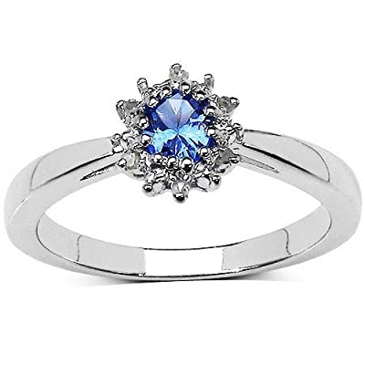 The Tanzanite Ring Collection: Beautiful Sterling Silver Oval Tanzanite & Diamond Cluster Engagement Ring