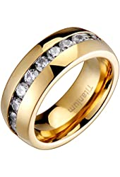 8MM Comfort Fit Titanium Wedding Band Gold-Plated Engagement Ring Cubic Zirconia SPJ
