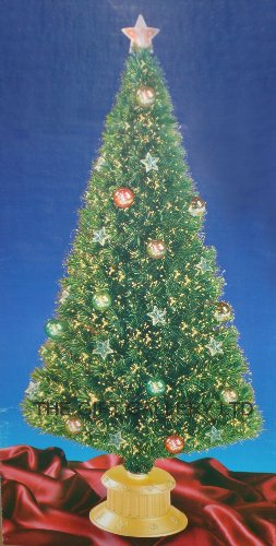 6FT GREEN FIBRE OPTIC CHRISTMAS TREE WITH STARS AND BAUBLES