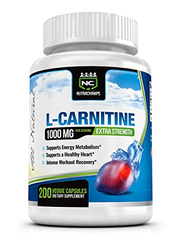 NutraChamps L-Carnitine 1000mg - Best Natural Formula for Recovery & Energy, Heart Health & Weight Loss - 200 Capsules 500mg Capsules - Satisfaction Guarantee
