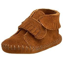 Minnetonka Front Strap Bootie (Infant/Toddler),Brown,2 M US Infant