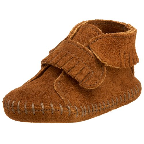 Minnetonka Velcro Front Strap Bootie (Infant/Toddler),Brown,6 M US Toddler