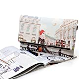 BMC-Womens-Textured-PU-Leather-Postage-Stamp-Design-Print-Fashion-Clutch-Handbag