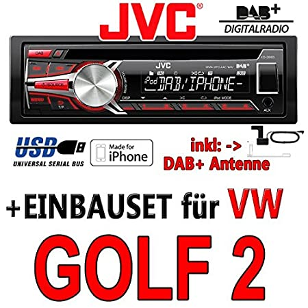 VW golf 2 jVC-kD-dB65 dAB autoradio cD/mP3/uSB avec dAB et antenne