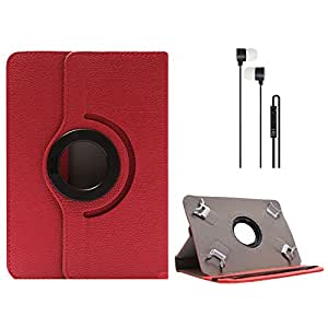 DMG Portable Foldable Stand Holder Cover Case for Dell Venue 7 3000 Series Tablet (Red) + Blue Stereo Earphone with Mic and Volume Control