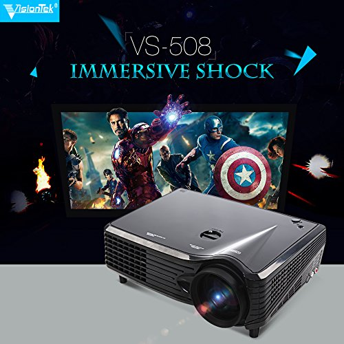 Lightinthebox® 32-200 inches1080p 3D Multimedia 3 LED 3000 Lumens LCD Full HD Projector, Cinema Theater Projector, for Business Movie PC Laptop HDMI USB VGA TV Port Throw Radio Range 150-400 (Short Range Projector compare prices)