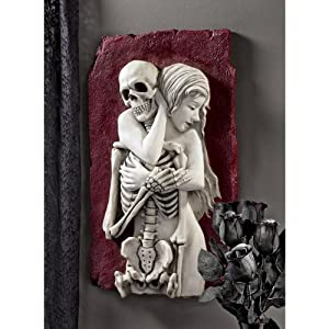 Life and Death Couple Lovers Memorial Embrace Wall Sculpture Statue
