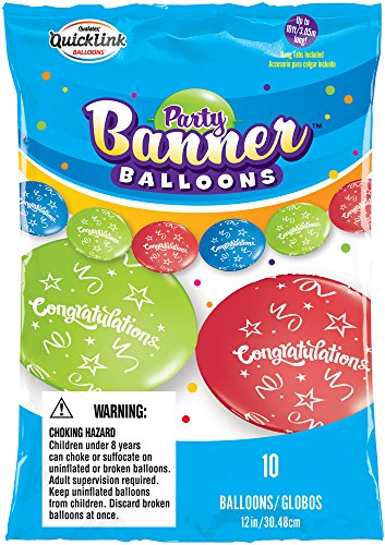 Party Banner Balloons 10 Count Congratulations Quicklink Banner Balloons, 12-Inch