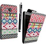 SONY XPERIA SP M35H VARIOUS PU LEATHER MAGNETIC FLIP CASE SKIN COVER POUCH + FREE STYLUS (Aztec Dark Tribal Retro Vintage)